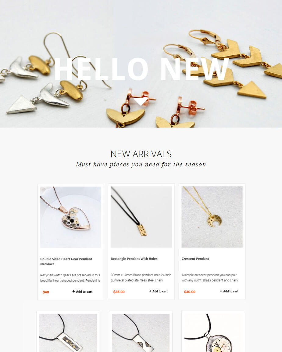 bluependulum jewelry webdesign work